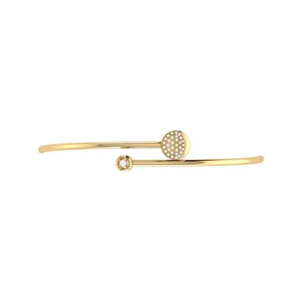 Moon-Crossed Lovers Adjustable Diamond Bangle in 14K Yellow Gold Vermeil on Sterling Silver