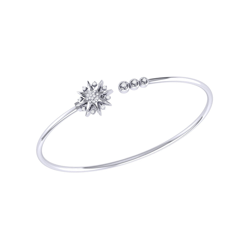 Supernova Star Adjustable Diamond Cuff in Sterling Silver