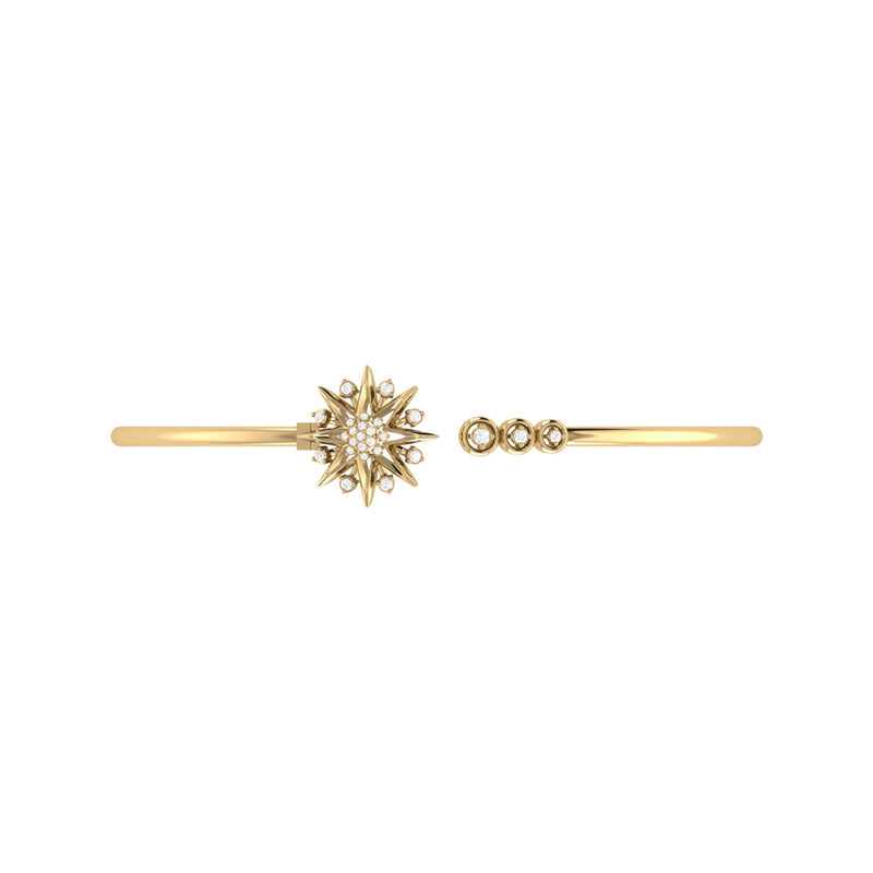 Supernova Star Adjustable Diamond Cuff in 14K Yellow Gold Vermeil on Sterling Silver