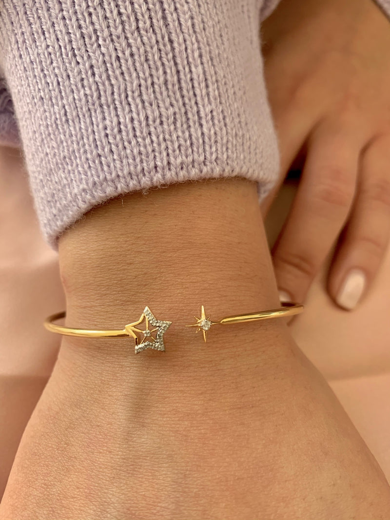 Starry Night Adjustable Diamond Cuff in 14K Yellow Gold Vermeil on Sterling Silver