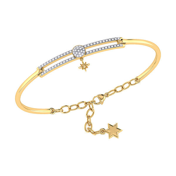 Full Moon North Star Diamond Bangle in 14K Yellow Gold Vermeil on Sterling Silver