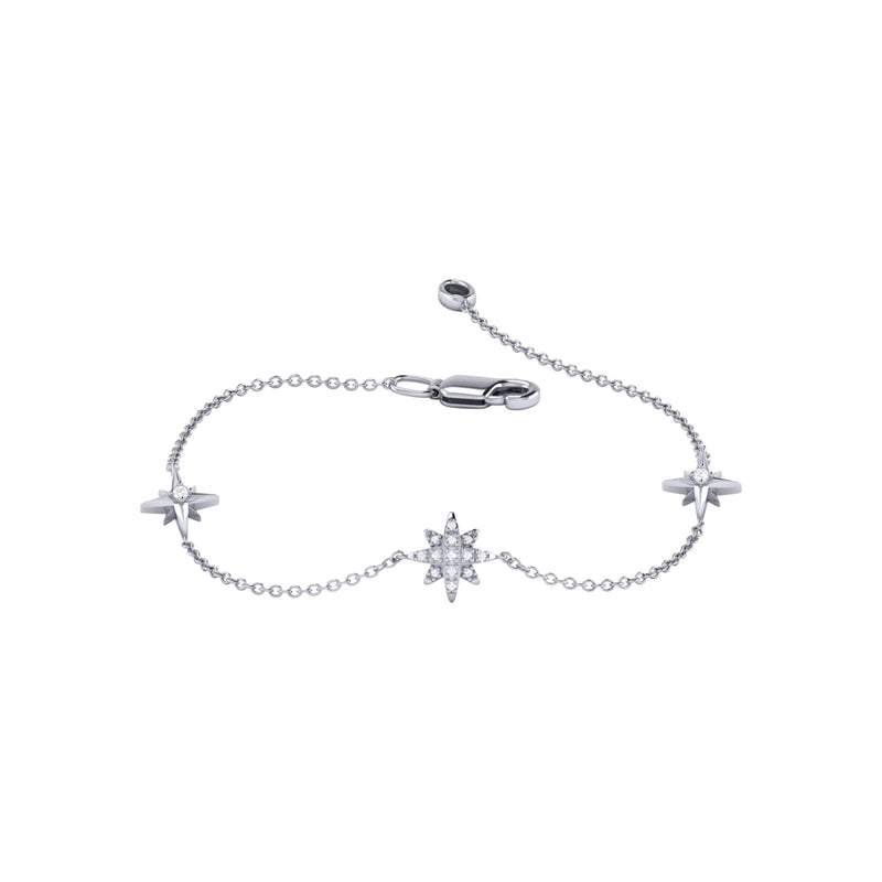 North Star Trio Diamond Bracelet in Sterling Silver