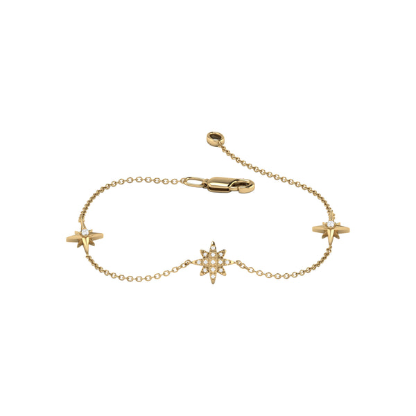 North Star Trio Diamond Bracelet in 14K Yellow Gold Vermeil on Sterling Silver