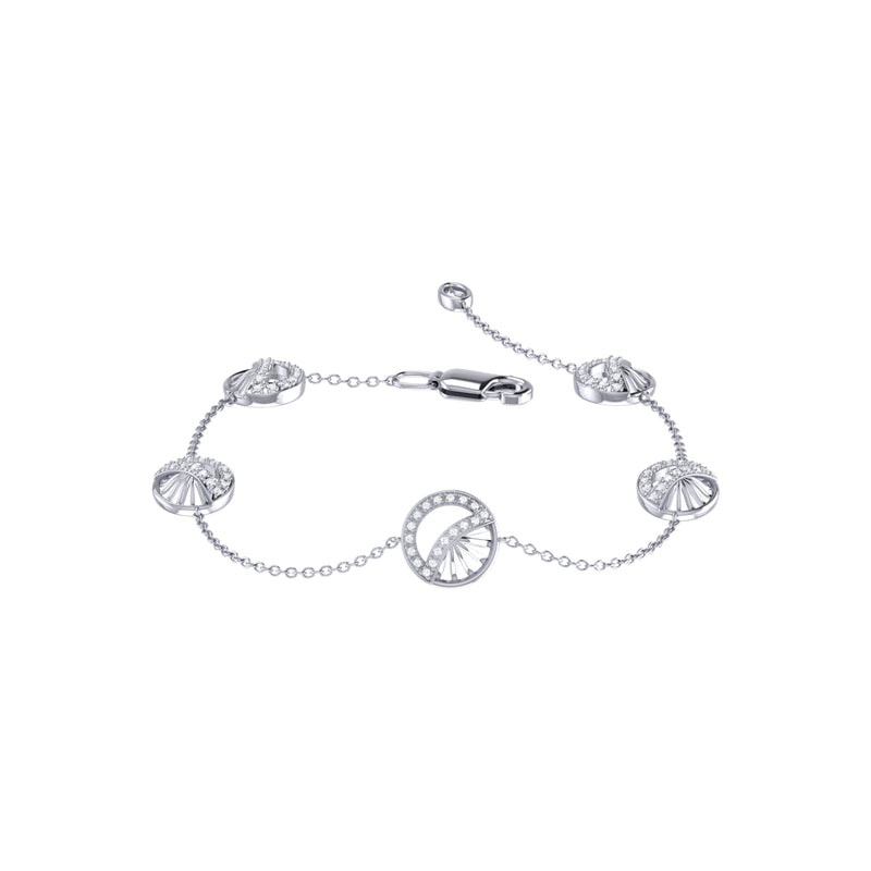 Moon Phases Diamond Bracelet in Sterling Silver