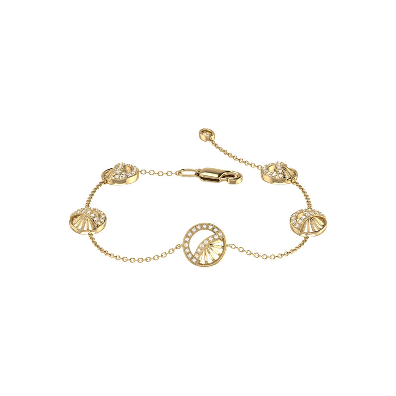 Moon Phases Diamond Bracelet in 14K Yellow Gold Vermeil on Sterling Silver