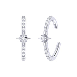 Starry Lane Diamond Ear Cuffs in Sterling Silver