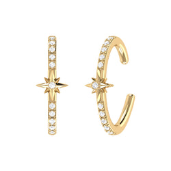 Starry Lane Diamond Ear Cuffs in 14K Yellow Gold Vermeil on Sterling Silver