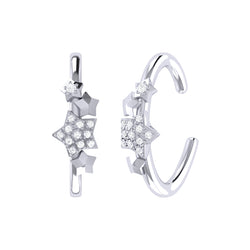 Star Cluster Diamond Ear Cuffs in Sterling Silver