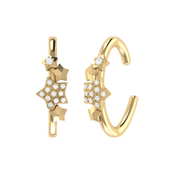 Star Cluster Diamond Ear Cuffs in 14K Yellow Gold Vermeil on Sterling Silver