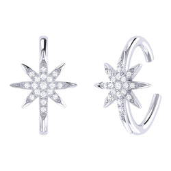 North Star Diamond Ear Cuffs in Sterling Silver