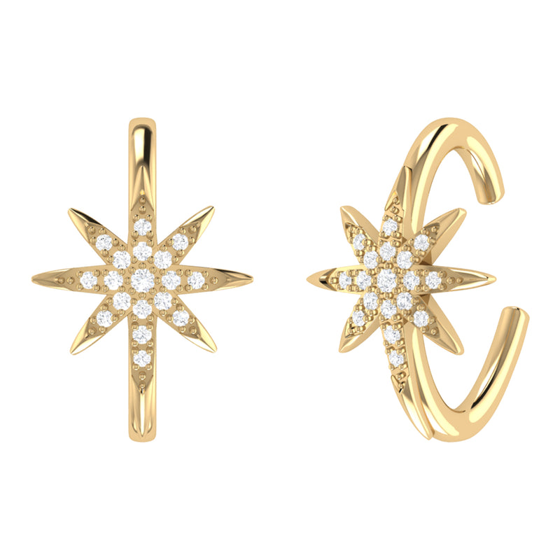 North Star Diamond Ear Cuffs in 14K Yellow Gold Vermeil on Sterling Silver