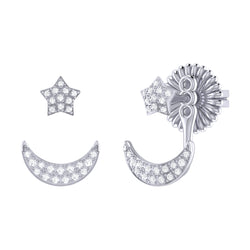 Starlit Crescent Diamond Stud Earrings in Sterling Silver