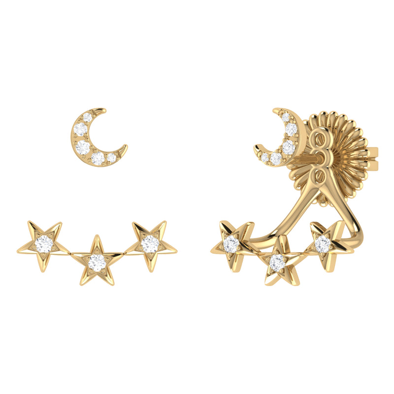 Star Trio Crescent Diamond Stud Earrings in 14K Yellow Gold Vermeil on Sterling Silver