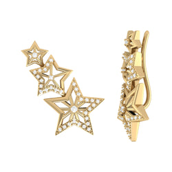 Starburst Diamond Ear Climbers in 14K Yellow Gold Vermeil on Sterling Silver