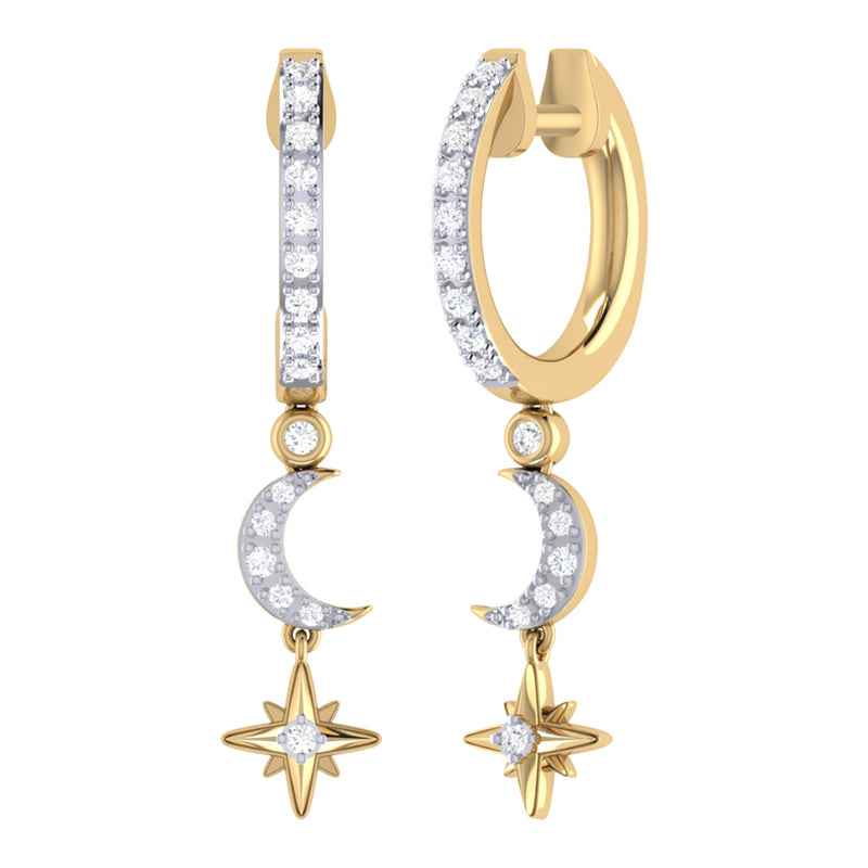 Starlit Crescent Diamond Hoop Earrings in 14K Yellow Gold Vermeil on Sterling Silver
