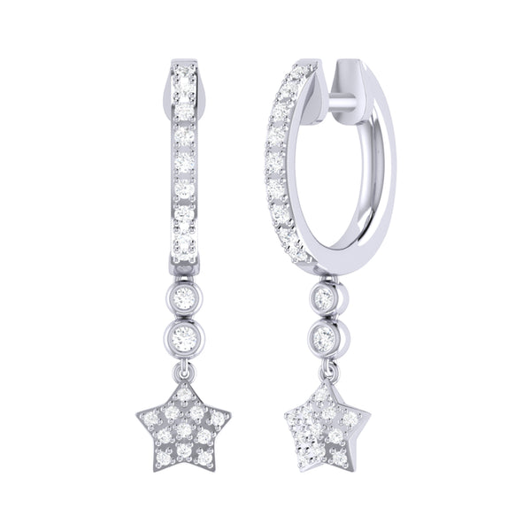 Star Bezel Duo Diamond Hoop Earrings in Sterling Silver