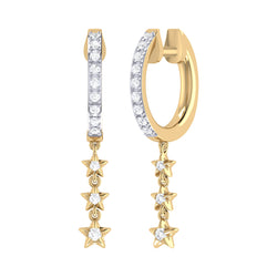 Star Trio Lane Diamond Hoop Earrings in 14K Yellow Gold Vermeil on Sterling Silver