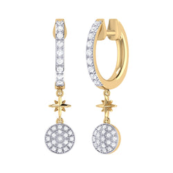 Full Moon Star Diamond Hoop Earrings in 14K Yellow Gold Vermeil on Sterling Silver