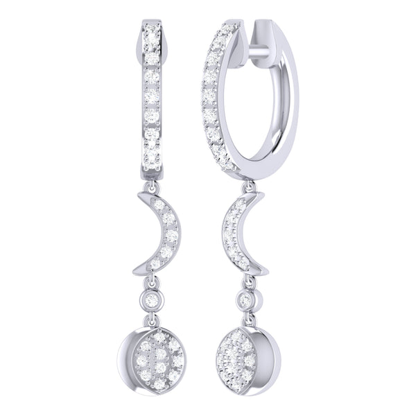 Moonlit Phases Diamond Hoop Earrings in Sterling Silver