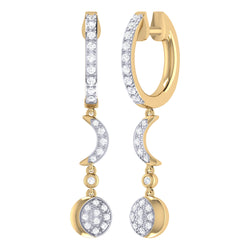 Moonlit Phases Diamond Hoop Earrings in 14K Yellow Gold Vermeil on Sterling Silver