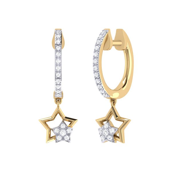 Starkissed Duo Diamond Hoop Earrings in 14K Yellow Gold Vermeil on Sterling Silver