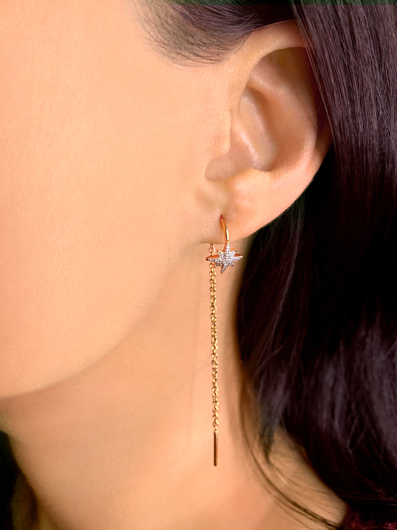 North Star Tack-In Diamond Earrings in 14K Yellow Gold Vermeil on Sterling Silver