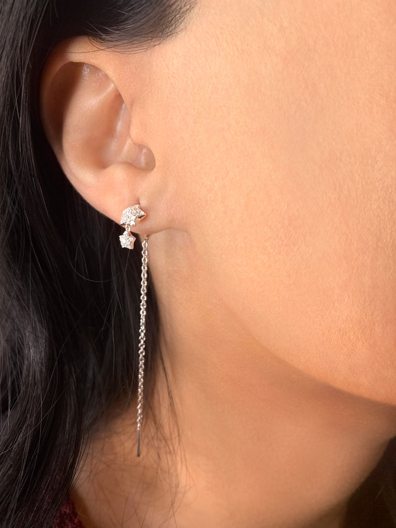 Dazzling Star Duo Tack-In Diamond Earrings in Sterling Silver