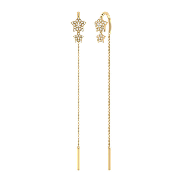 Dazzling Star Duo Tack-In Diamond Earrings in 14K Yellow Gold Vermeil on Sterling Silver