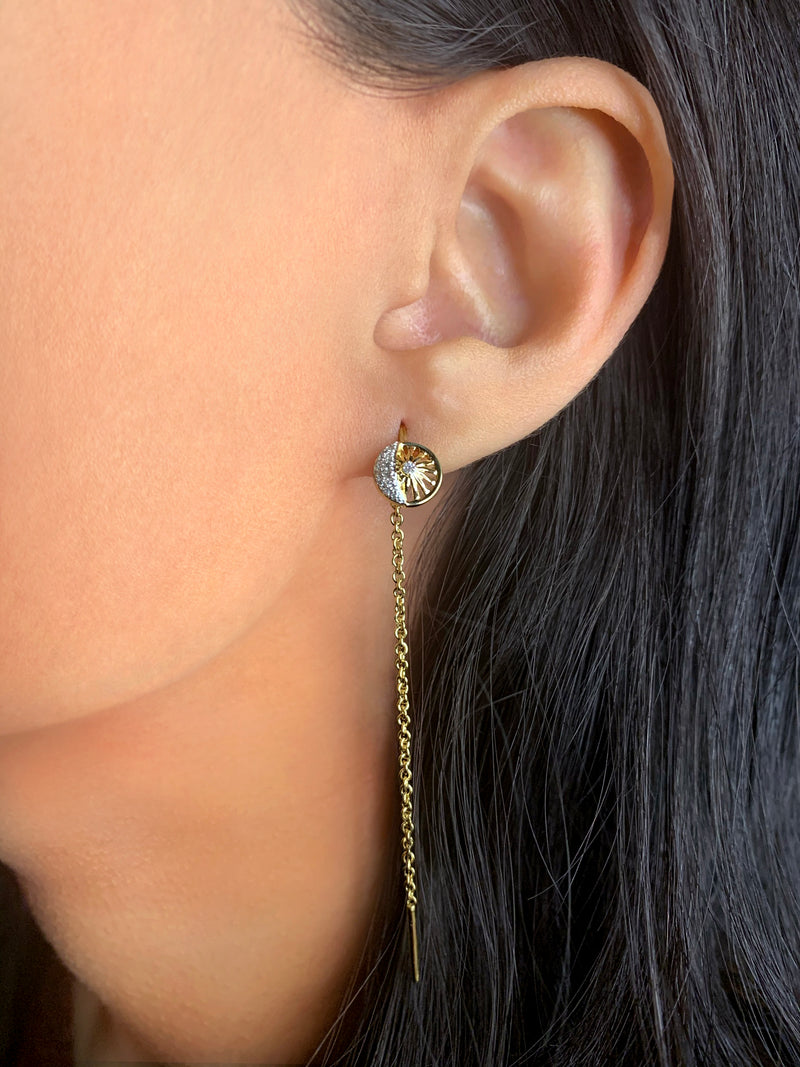 Moon Phases Tack-In Diamond Earrings in 14K Yellow Gold Vermeil on Sterling Silver