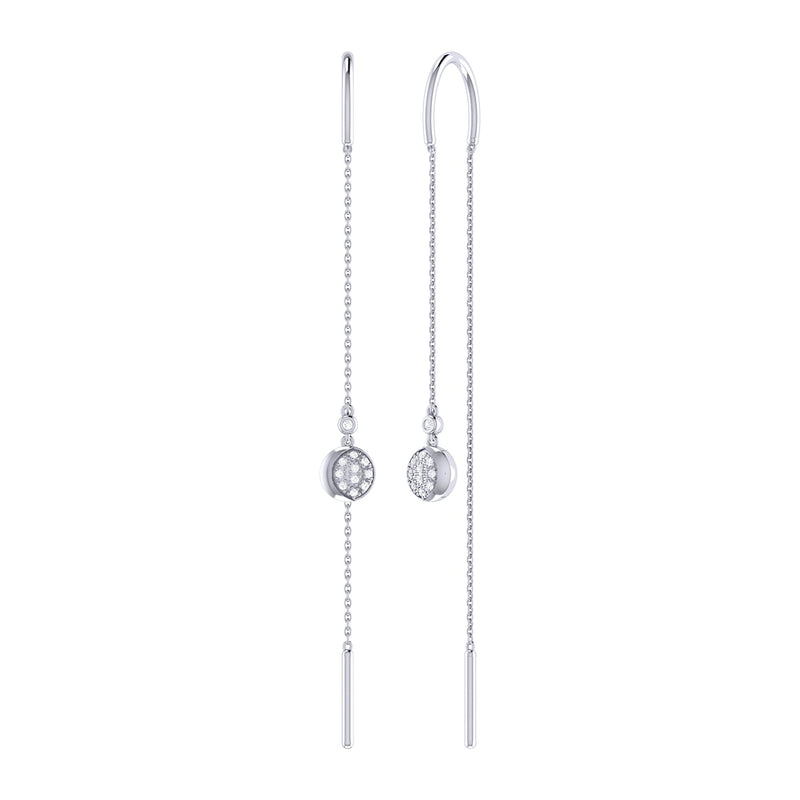 Moonlit Phases Tack-In Diamond Earrings in Sterling Silver