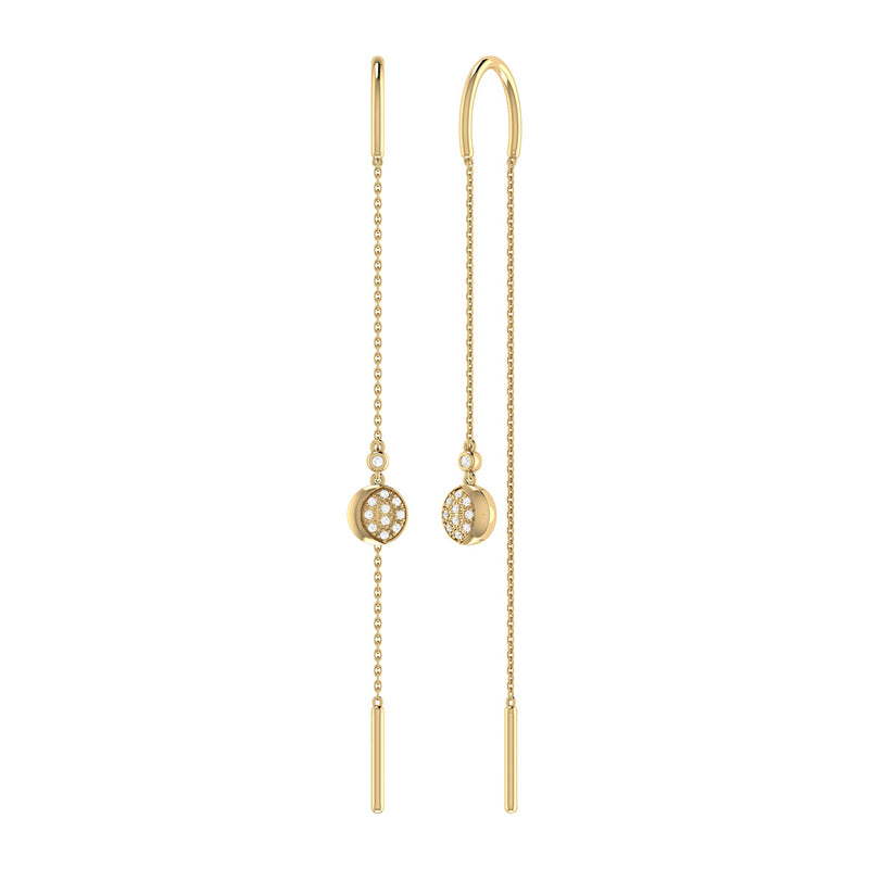 Moonlit Phases Tack-In Diamond Earrings in 14K Yellow Gold Vermeil on Sterling Silver