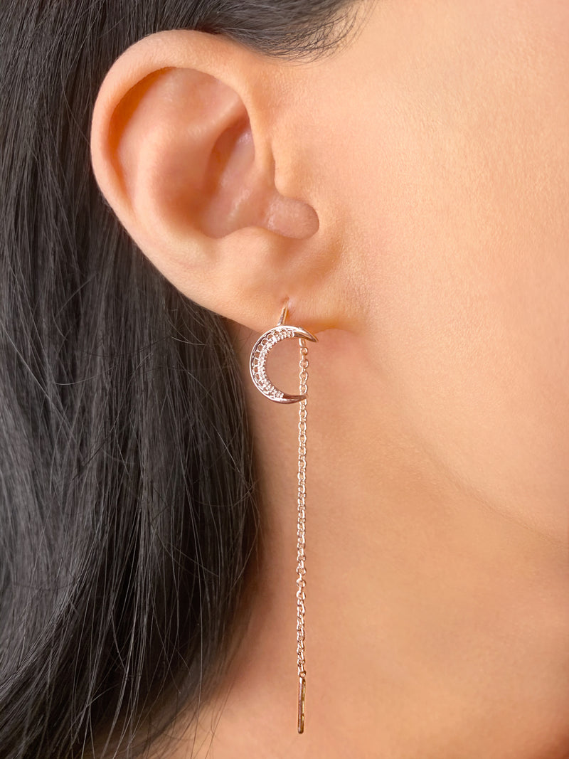 Moon Crescent Tack-In Diamond Earrings in Sterling Silver