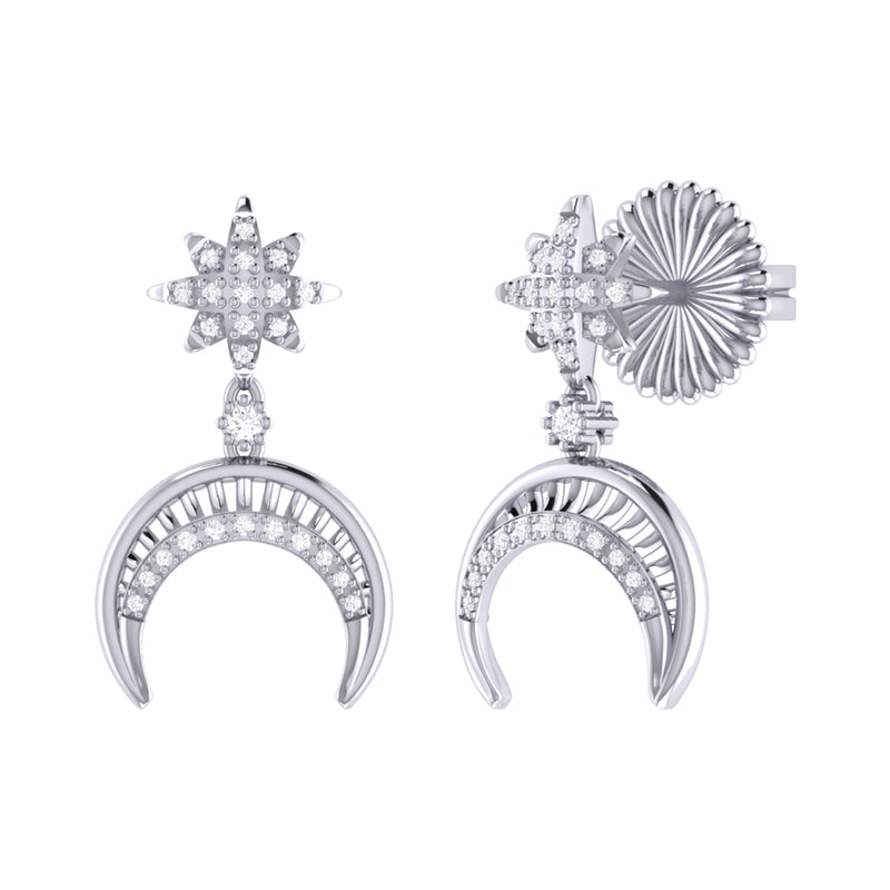 North Star Moon Crescent Diamond Earrings in Sterling Silver