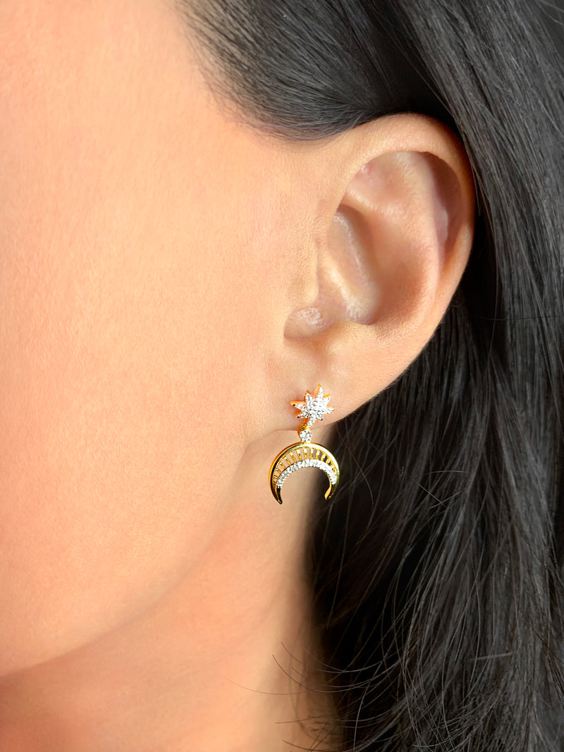 North Star Moon Crescent Diamond Earrings in 14K Yellow Gold Vermeil on Sterling Silver