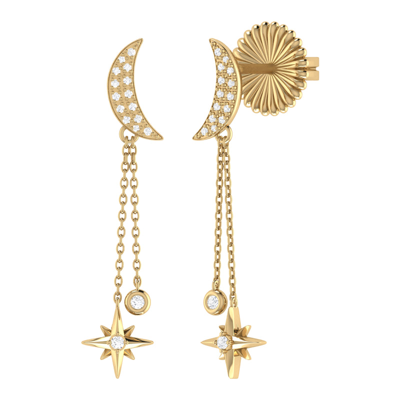 Moonlit Drop Star Diamond Earrings in 14K Yellow Gold Vermeil on Sterling Silver