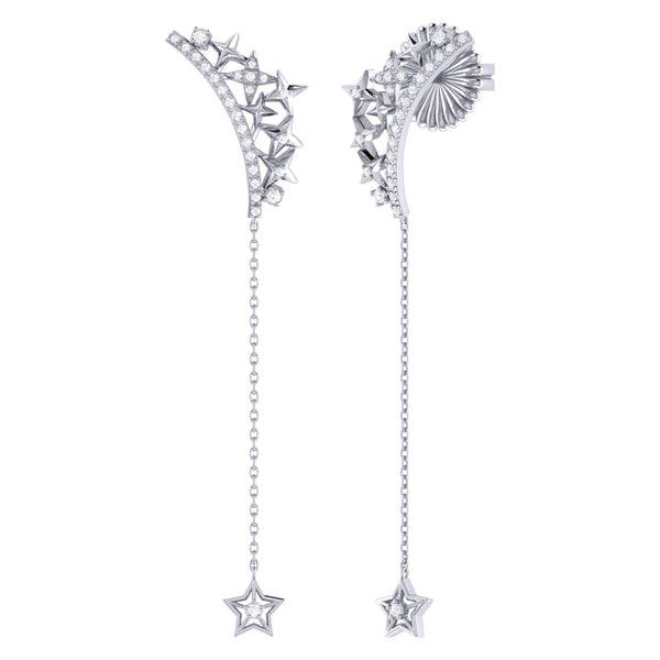 Starry Cascade Tiara Diamond Drop Earrings in Sterling Silver