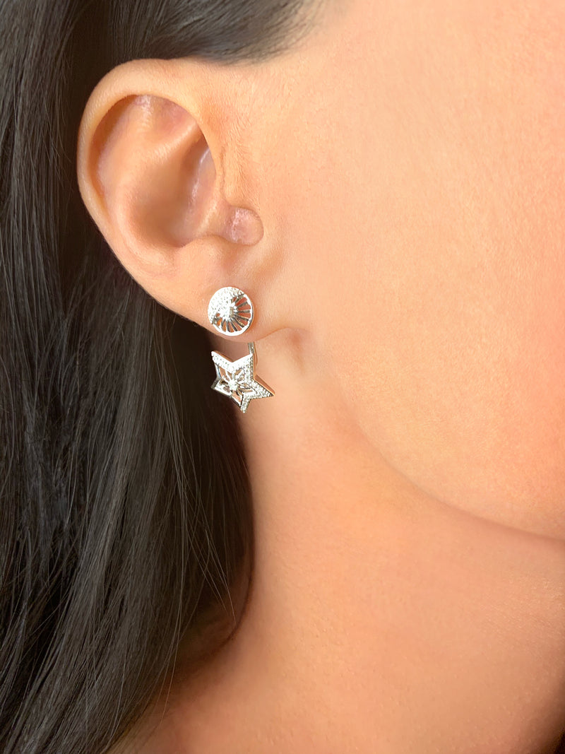 Lucky Star Diamond Stud Earrings in Sterling Silver