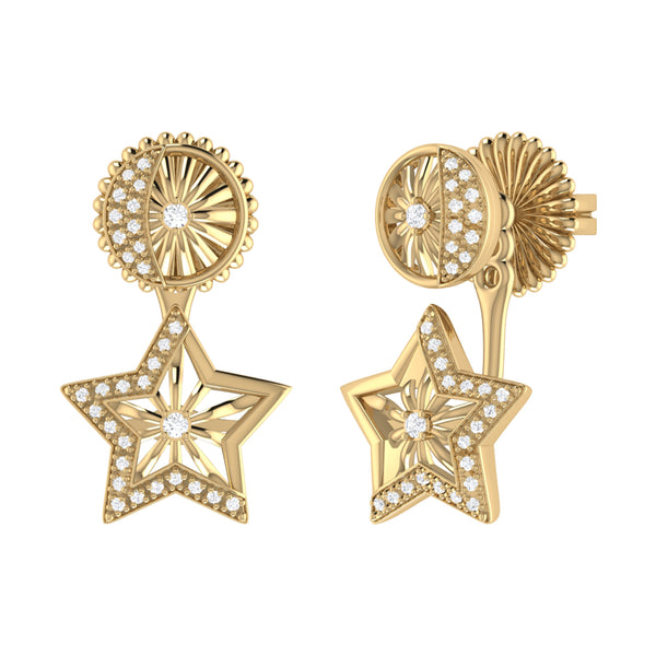 Lucky Star Diamond Stud Earrings in 14K Yellow Gold Vermeil on Sterling Silver