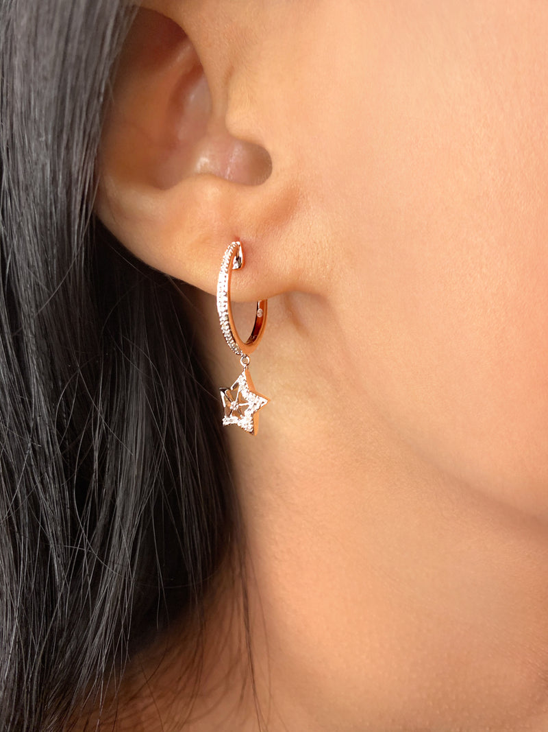 Lucky Star Diamond Hoop Earrings in Sterling Silver