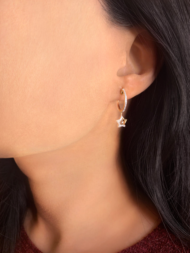 Lucky Star Diamond Hoop Earrings in 14K Yellow Gold Vermeil on Sterling Silver
