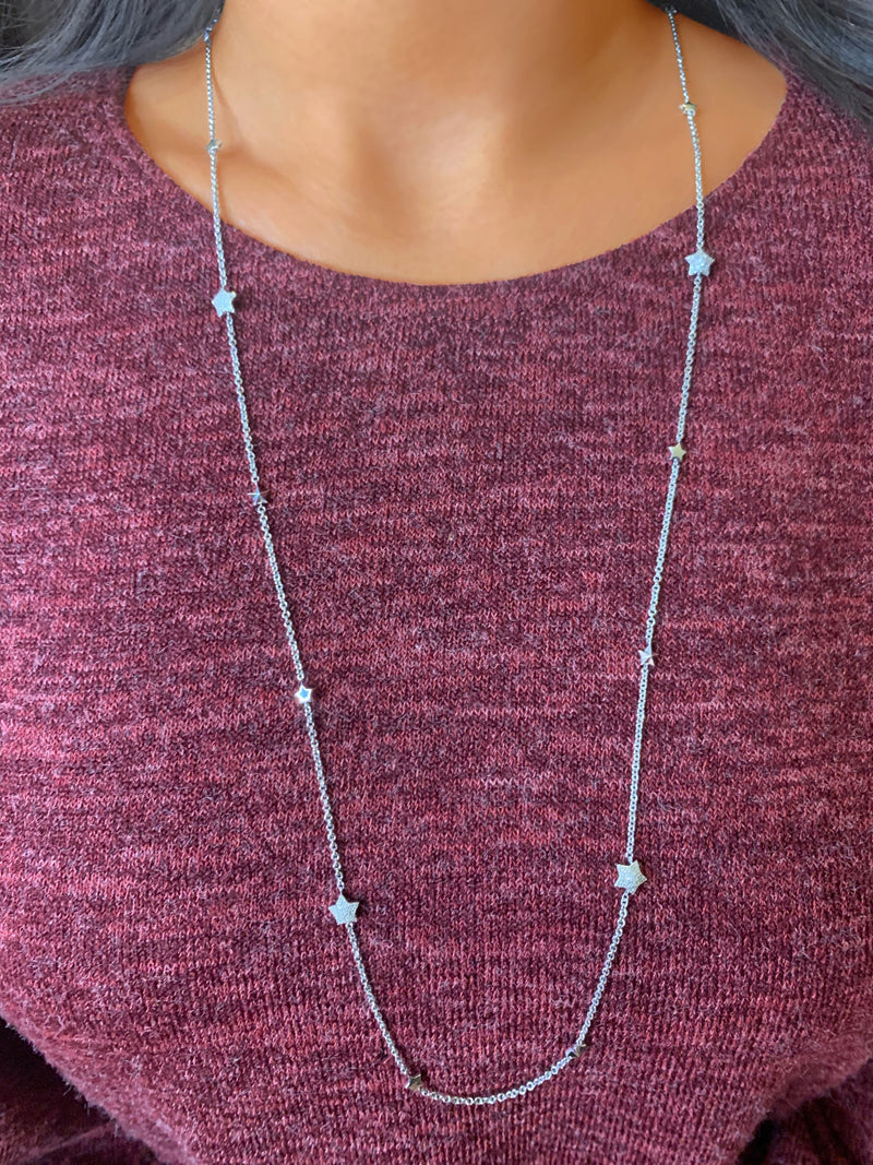 Lucky Star Layered Diamond Necklace in Sterling Silver