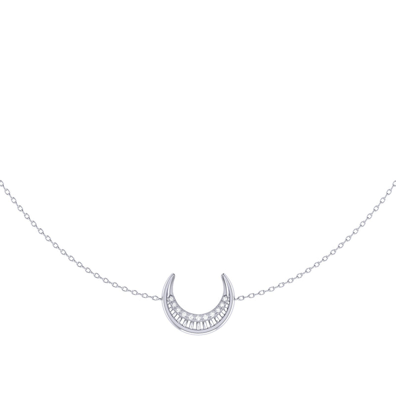 Midnight Crescent Layered Diamond Necklace in Sterling Silver