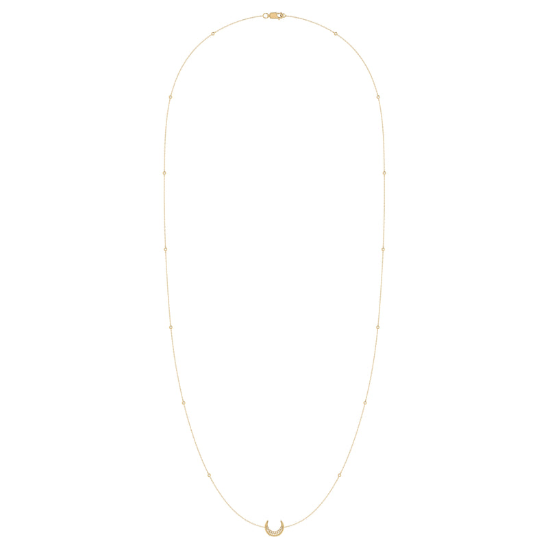 Midnight Crescent Layered Diamond Necklace in 14K Yellow Gold Vermeil on Sterling Silver