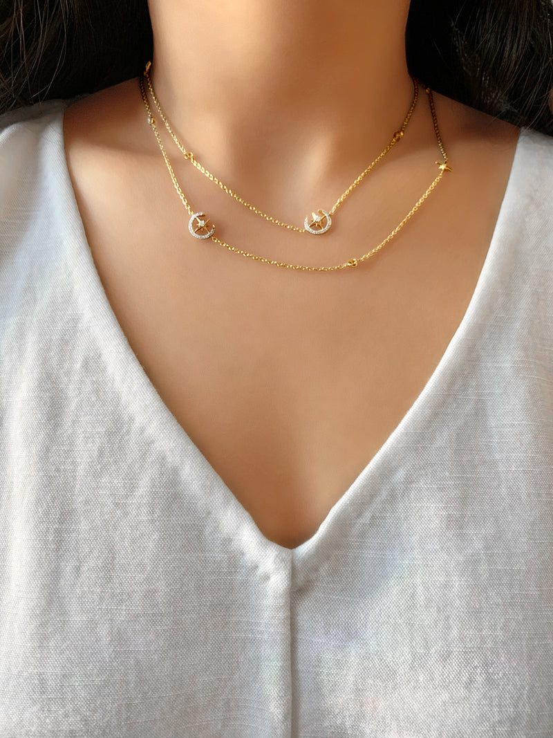North Star Crescent Layered Diamond Necklace in 14K Yellow Gold Vermeil on Sterling Silver