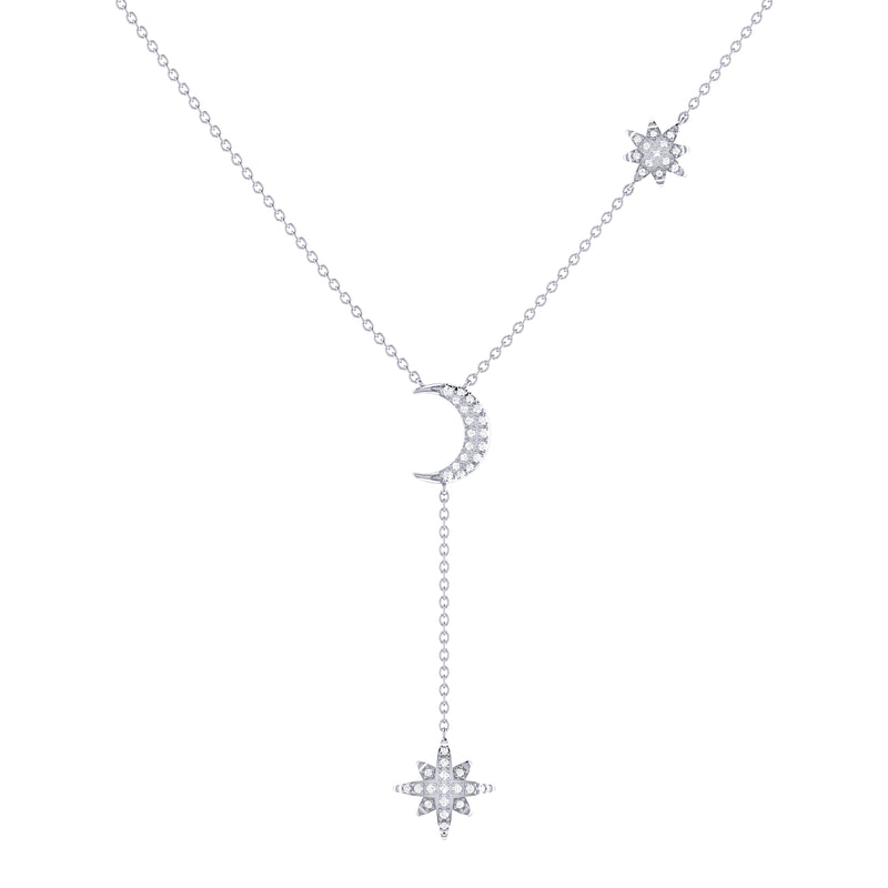Crescent North Star Diamond Drop Necklace in Sterling Silver