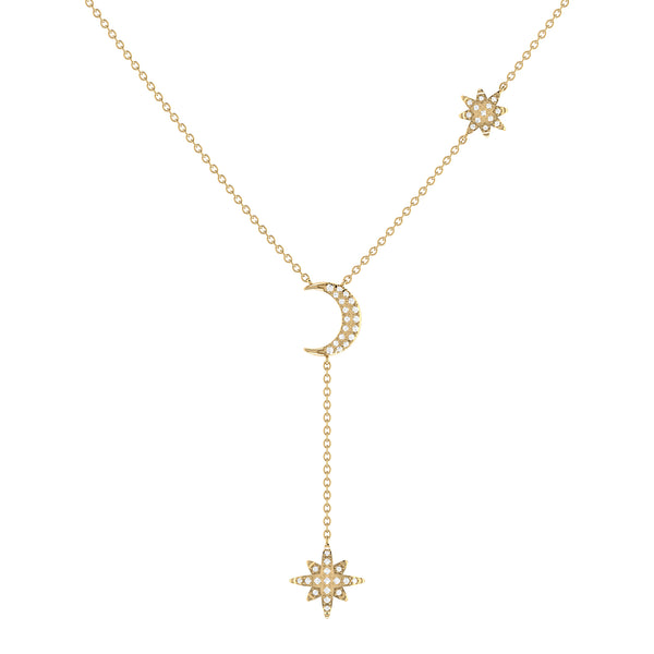 Crescent North Star Diamond Drop Necklace in 14K Gold Vermeil on Sterling Silver