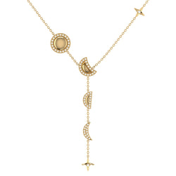 Moon Stages Diamond Y Necklace in 14K Yellow Gold Vermeil on Sterling Silver