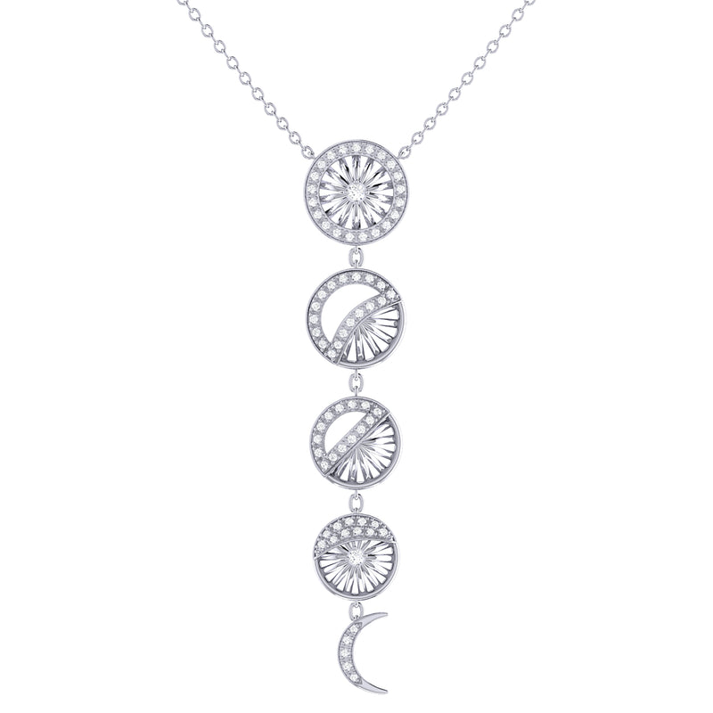 Moon Phases Diamond Necklace in Sterling Silver