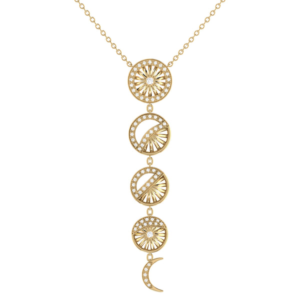 Moon Phases Diamond Necklace in 14K Yellow Gold Vermeil on Sterling Silver