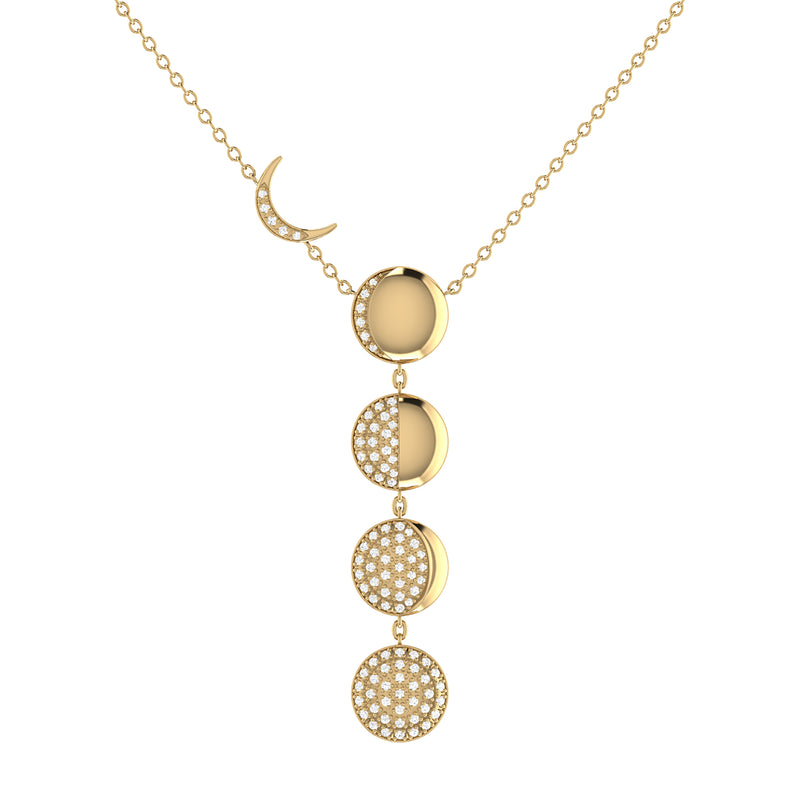 Moon Transformation Diamond Necklace in 14K Yellow Gold Vermeil on Sterling Silver